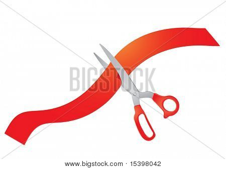 Scissors and red ribbon. Vector illustration.