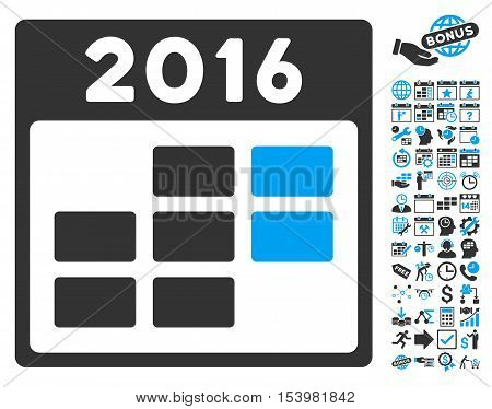2016 Month Calendar pictograph with bonus calendar and time management pictograph collection. Glyph illustration style is flat iconic bicolor symbols blue and gray colors white background.
