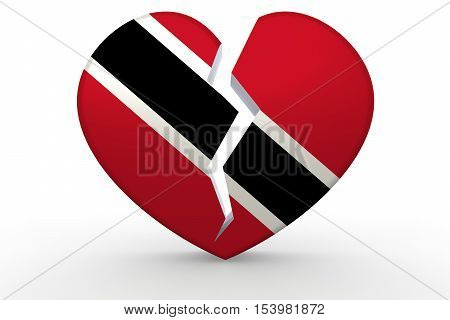 Broken White Heart Shape With Trinidad And Tobago Flag