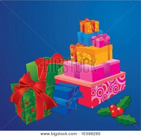 Weihnachtsgeschenke. Vektor-illustration