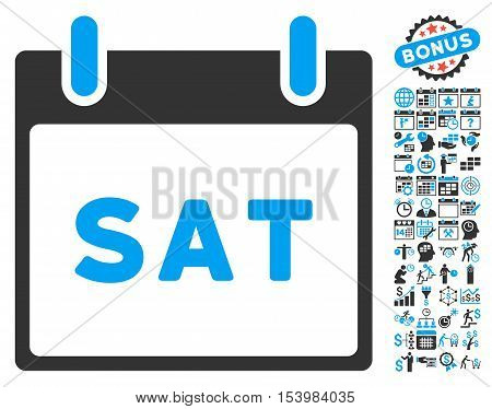 Saturday Calendar Page icon with bonus calendar and time management design elements. Glyph illustration style is flat iconic bicolor symbols blue and gray colors white background.
