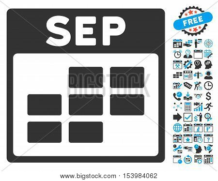 September Calendar Page pictograph with bonus calendar and time management pictograph collection. Glyph illustration style is flat iconic bicolor symbols blue and gray colors white background.