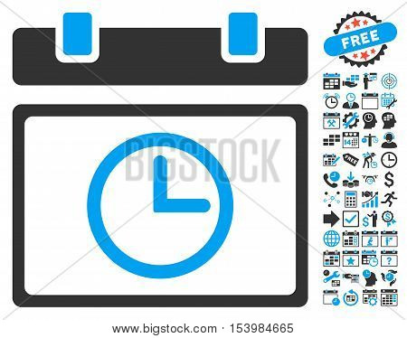 Date Time pictograph with bonus calendar and time management pictograph collection. Glyph illustration style is flat iconic bicolor symbols, blue and gray colors, white background.