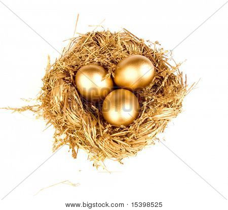 Gold eggs in the gold nest, isolated on white