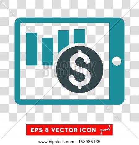 Sales Chart on PDA vector icon. Image style is a flat soft blue iconic symbol.