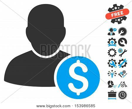 Businessman icon with bonus tools images. Glyph illustration style is flat iconic bicolor symbols, blue and gray colors, white background.