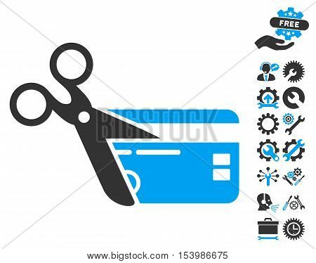 Cut Credit Card icon with bonus tools symbols. Glyph illustration style is flat iconic bicolor symbols blue and gray colors white background.