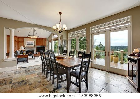 Dining Room Interior With Stone Floor