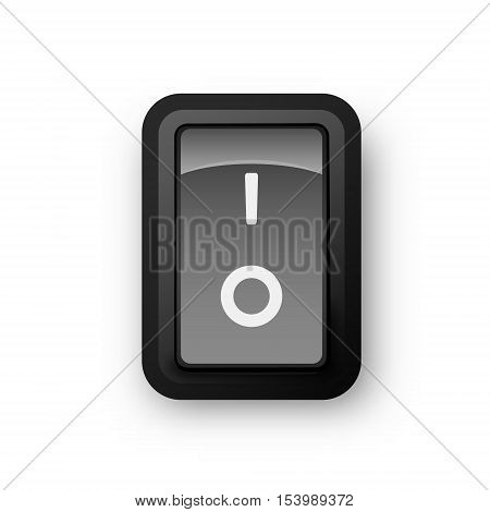 Black pc electric switch off position 3d realistic vector object illustration of electrical equipment eps 10