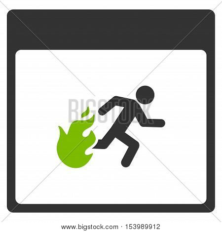 Fire Evacuation Man Calendar Page glyph pictogram. Style is flat graphic bicolor symbol, eco green and gray colors, white background.