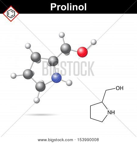 Proninol amino alcohol chemical structure chiral organic synthesis compound 2d and 3d vector illustration isolated on white background eps 10