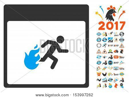 Fire Evacuation Man Calendar Page icon with bonus calendar and time management clip art. Glyph illustration style is flat iconic symbols, blue and gray colors, white background.