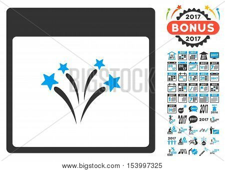 Fireworks Calendar Page pictograph with bonus calendar and time management pictograph collection. Glyph illustration style is flat iconic symbols, blue and gray colors, white background.