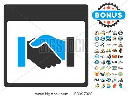 Handshake Calendar Page pictograph with bonus calendar and time management pictograph collection. Glyph illustration style is flat iconic symbols, blue and gray colors, white background.