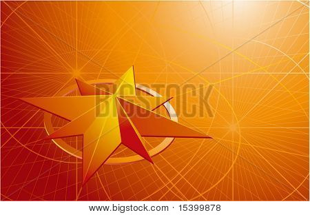 Yellow compass. Vector background.