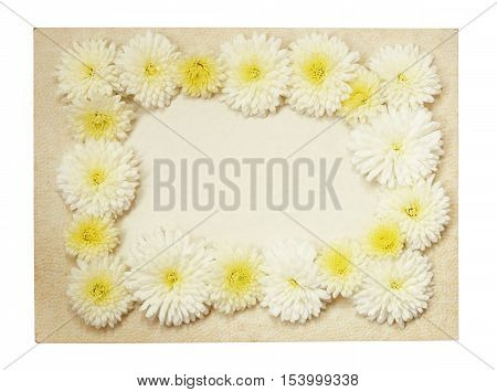 Old vintage paper frame with white aster flowers isolated on white
