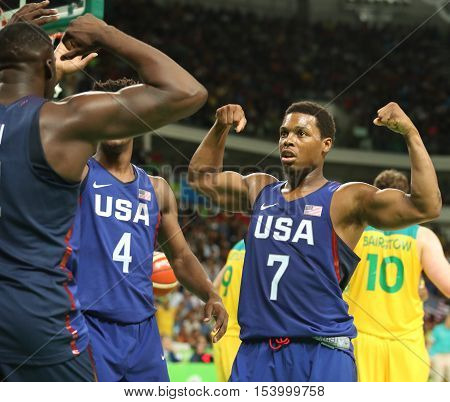 RIO DE JANEIRO, BRAZIL - AUGUST 10, 2016: Kyle Lowry of team United States in action during group A basketball match between Team USA and Australia of the Rio 2016 Olympic Games at Carioca Arena 1