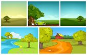 Постер, плакат: Hand drawn vector cartoon set of summer landscapes Colourful cartoons of summer backgrounds Cartoo