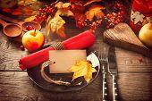 Thanksgiving dinner, Thanksgiving turkey. Served table. Thanksgiving table served with turkey, decor poster