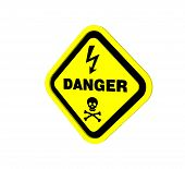 picture of dimentional  - warning sign design to three dimention for Presentation or lable - JPG