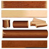 Vector isolated wooden objects for design, include log, plank, stump, firewood, slats, wood board an