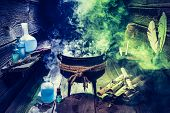 Постер, плакат: Magical Witcher Cauldron With Blue And Green Smoke For Halloween