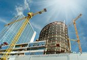 stock photo of erection  - Construction work site - JPG