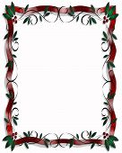 Christmas Holly And Ribbon Vertical Border