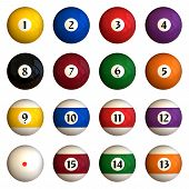 pic of pool ball  - Sixteen pool balls isolated on a white background  - JPG