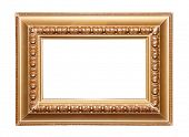Golden picture frame. Isolated on white.