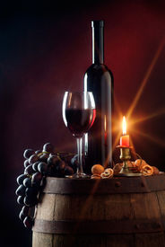 image of wine cellar  - Still life with red wine and candle - JPG