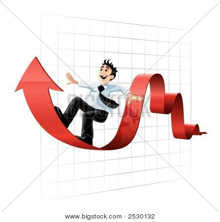 Businessman Surfing On The Chart Line