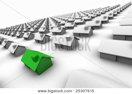 Hundreds Of Houses One Green