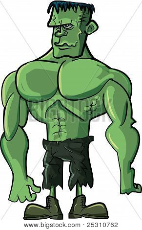 Cartoon green Frankenstein monster