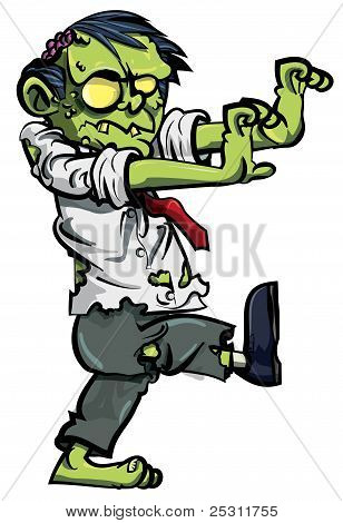 Cartoon zombie with brains exposed
