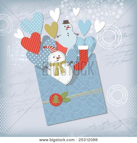 Christmas and New Year's Greeting card, scrapbook elements