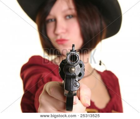 young cowgirl with gun on white