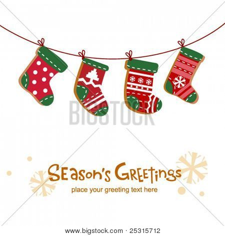 Christmas stockings,  greeting card