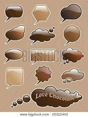 Glossy 'love chocolate' speech and think bubbles with space for your text. Also available in vector format