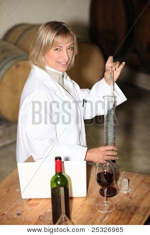 Wine expert in a cellar
