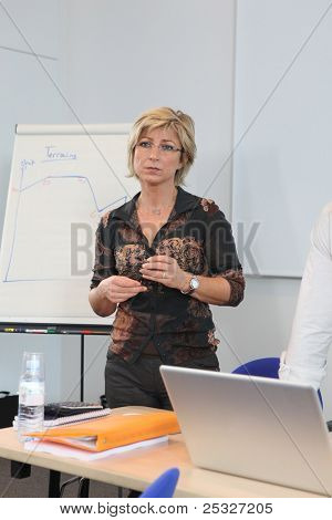 Woman at a whiteboard in a presentation