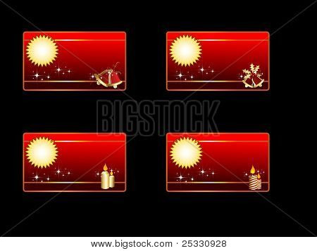 set of four banners or cards having bells and candles in golden & red color for Christmas & other occasions.