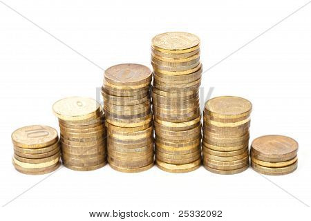 Golden Coins Stacks In A Row