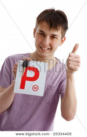 Teen Boy Holding P Plates And Car Key