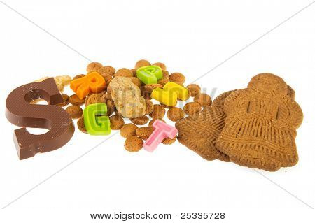 Sinterklaas candy with chocolate letter marzipan pepernoten and speculaas