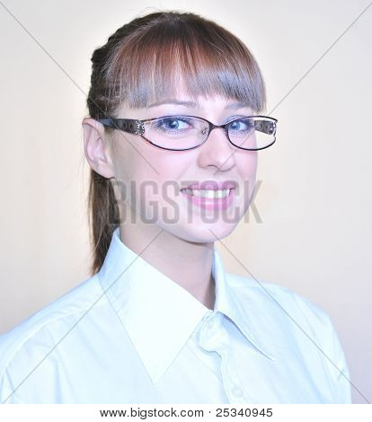 Auburn-haired woman.