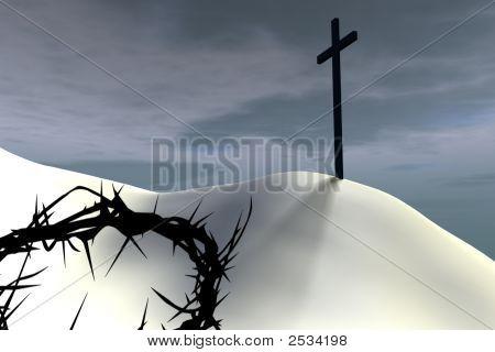 Thorn Crown Near A Cross