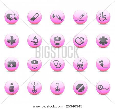 Glossy icons, medical and heath-care
