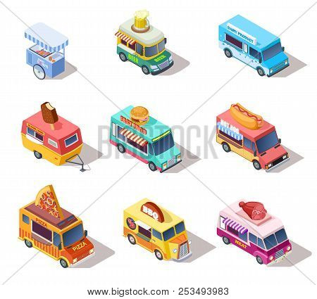 poster of Isometric Street Food Trucks And Carts. Selling Hot Dogs And Coffee, Pizza And Snacks. 3d Isolated V