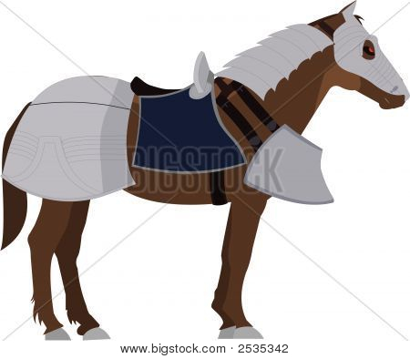 Brown Horse In Armor